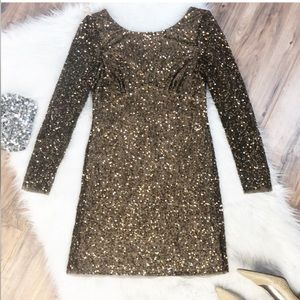 Adrianna  Papell Sz 8 bronze sequin dress